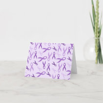 Purple Ribbon Awareness Thank You Notes Stationery