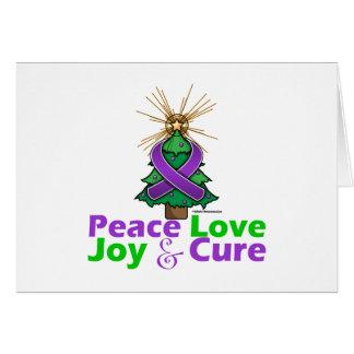 Purple Ribbon Christmas Peace Love, Joy & Cure Cards