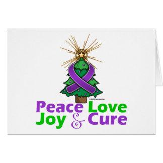 Purple Ribbon Christmas Peace Love Joy Cure Greeting Card