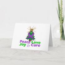 Purple Ribbon Christmas Peace Love, Joy & Cure Holiday Card