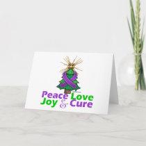 Purple Ribbon Christmas Peace Love Joy Cure Holiday Card