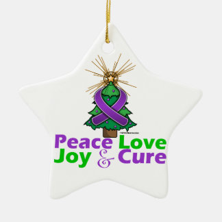 Purple Ribbon Christmas Peace Love, Joy & Cure Ornaments
