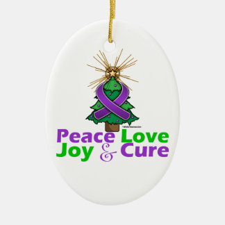 Purple Ribbon Christmas Peace Love Joy Cure Christmas Tree Ornament
