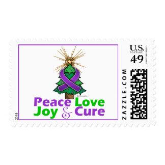 Purple Ribbon Christmas Peace Love, Joy & Cure Postage Stamp