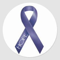 Purple Ribbon Classic Round Sticker