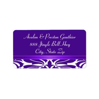 Purple Ribbon Damask Christmas Holiday Personalized Address Label