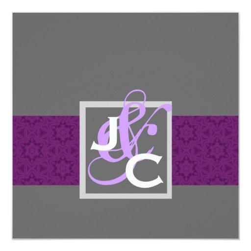 Purple Ribbon Damask Wedding Template Invitation
