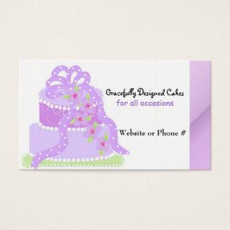Purple Ribbon Designer Cake Business Card
