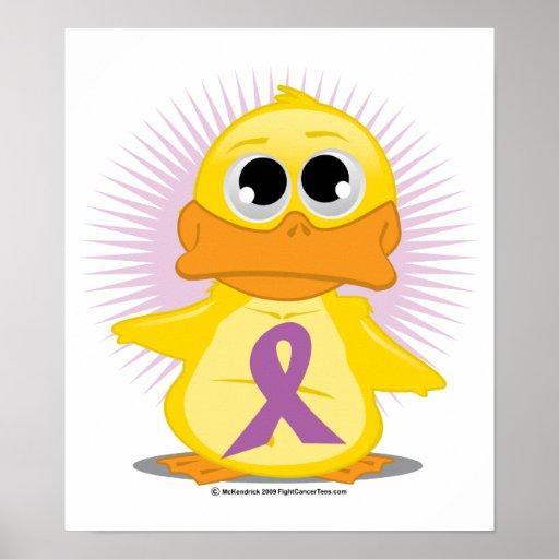 Purple Ribbon Duck Poster