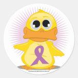 Purple Ribbon Duck Round Stickers