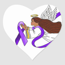"""Purple Ribbon"" Ethnic Angel of Awareness Heart Sticker"