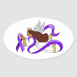 """Purple Ribbon"" Ethnic Angel of Awareness Oval Sticker"