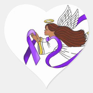 """Purple Ribbon"" Ethnic Angel of Awareness Heart Sticker"