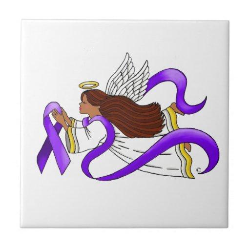 """Purple Ribbon"" Ethnic Angel of Awareness Ceramic Tiles"