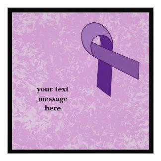 purple ribbon event personalized invite