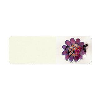 Purple  Ribbon Flower Return Address Labels
