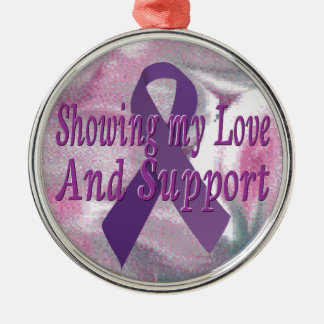 Purple ribbon for pancreatic cancer ornament