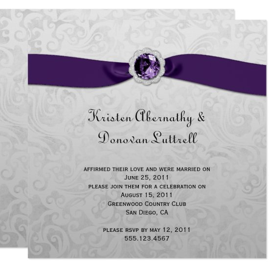 Purple Ribbon Gem Silver Post Wedding Invitation