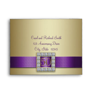 Purple Ribbon Gold 50th Wedding Anniversary A2 Envelope