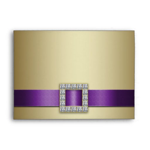 Purple Ribbon Gold 50th Wedding Anniversary A7 Envelope