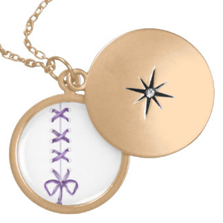 Purple Ribbon Gold Plated Necklace