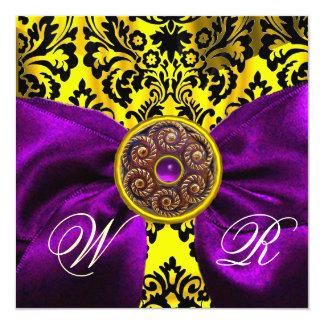 PURPLE  RIBBON GOLD YELLOW  BLACK  DAMASK MONOGRAM CARD