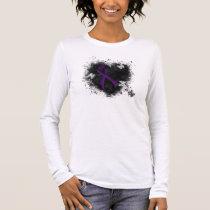 Purple Ribbon Grunge Heart Long Sleeve T-Shirt