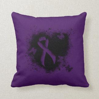 Purple Ribbon Grunge Heart Pillows