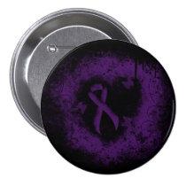 Purple Ribbon Grunge Heart Pinback Button