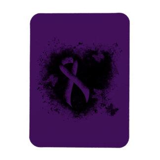 Purple Ribbon Grunge Heart Rectangular Photo Magnet