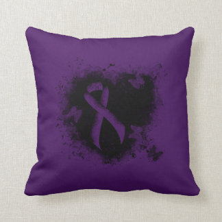 Purple Ribbon Grunge Heart Throw Pillow