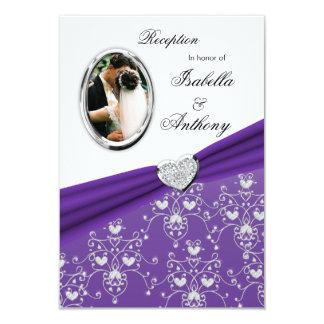 Purple Ribbon Heart Damask  Reception Invitations