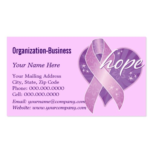 purple ribbon hope Double-Sided standard business cards (Pack of 100)