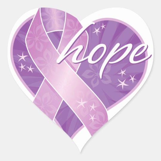 purple ribbon hope heart sticker