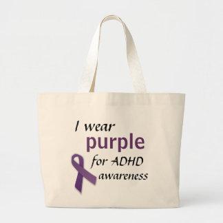 Purple Ribbon, I wear, purple, for ADHD, awareness Jumbo Tote Bag