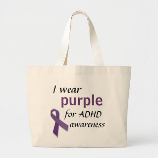 Purple Ribbon, I wear, purple, for ADHD, awareness Large Tote Bag
