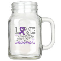 Purple Ribbon Love Hope Awareness Mason Jar