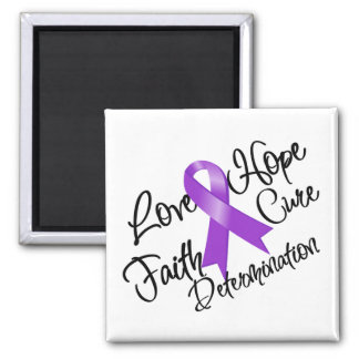 Purple Ribbon Love Hope Determination 2 Inch Square Magnet