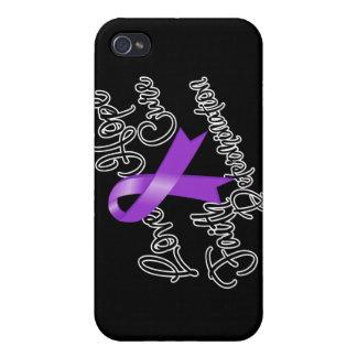 Purple Ribbon Love Hope Determination iPhone 4 Cover
