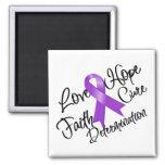 Purple Ribbon Love Hope Determination Refrigerator Magnet