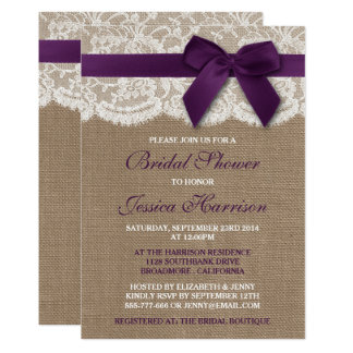 Purple Ribbon On Burlap & Lace Bridal Shower Card
