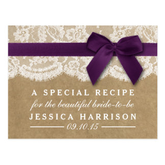 Purple Ribbon On Kraft & Lace Bridal Shower Recipe Postcard