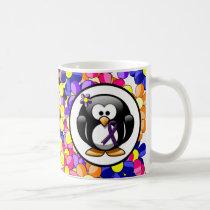 Purple Ribbon Penguin Coffee Mug