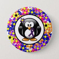 Purple Ribbon Penguin Pinback Button