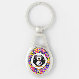 Purple Ribbon Penguin Silver-Colored Oval Metal Keychain