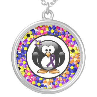 Purple Ribbon Penguin Silver Plated Necklace