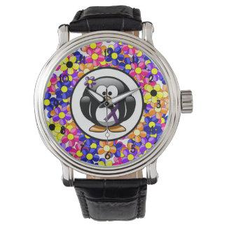 Purple Ribbon Penguin Wrist Watches