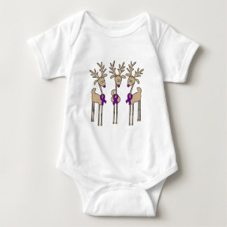 Purple Ribbon Reindeer - Alzheimer's Disease Baby Bodysuit
