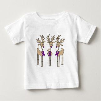 Purple Ribbon Reindeer - Alzheimer's Disease Baby T-Shirt