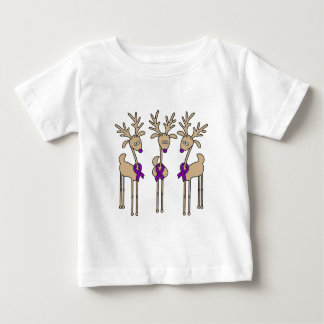 Purple Ribbon Reindeer - Alzheimer's Disease Baby T-Shirt